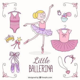 Kleine ballerina und ihre elemente