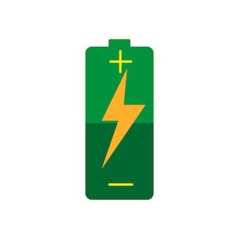 Kleine batterie mit mittlerem ladungsikonenvektor lokalisiert auf weißem hintergrund