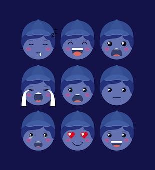 Kleine blaue jungs emoticon-set kawaii zeichen