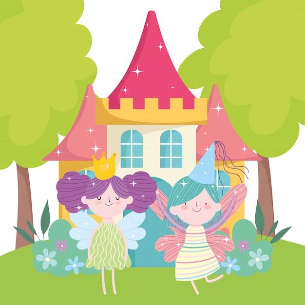 Kleine feenprinzessin mit flügeln krönen schloss märchenkarikatur