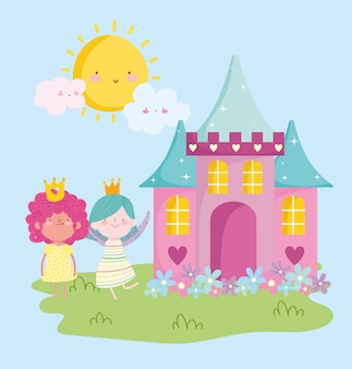 Kleine feenprinzessin mit schlossblumen entzückender märchenkarikatur