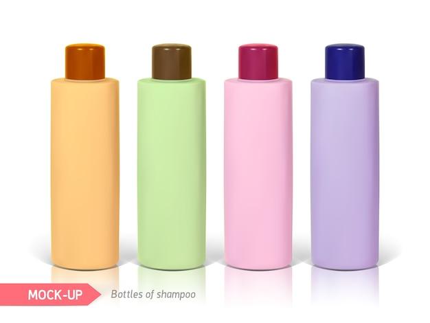 Kleine flaschen shampoo. mocap zur präsentation des etiketts.
