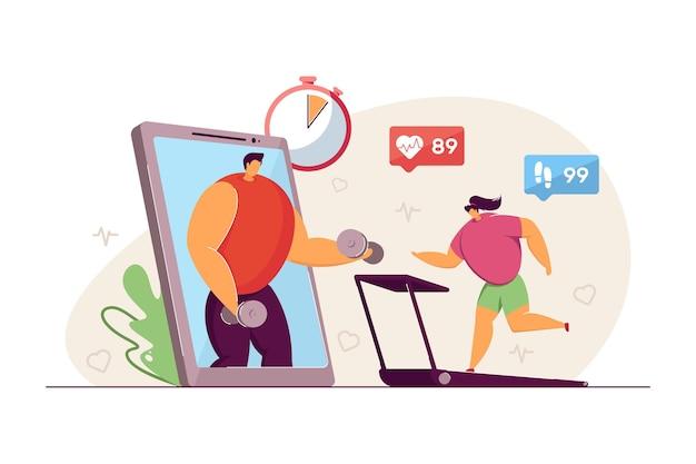 Kleine frau, die auf laufband trainiert. telefon mit fitness-app, weibliches charaktertraining, herzpuls, virtueller trainer flache vektorgrafik. gesunder lebensstil, sportkonzept für banner, website-design