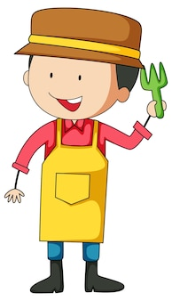 Kleine gärtner-doodle-cartoon-figur