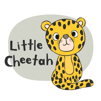 Kleine gezeichnete karikatur des geparden hand für kindt-shirt drucken
