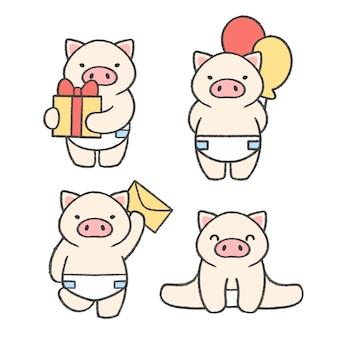 Kleine gezeichnete karikatursammlung des schweins hand