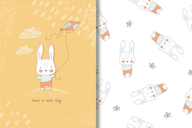 Kleine gezeichnete karte des kaninchens hand und nahtloses muster. kinder abbildung