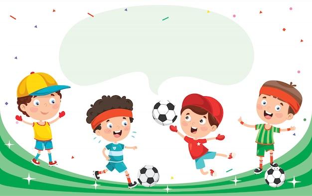Kleine glückliche kinder, die sport machen
