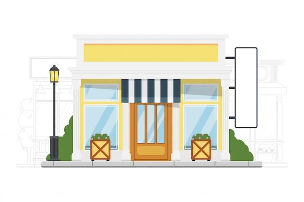 Kleine herberge. detaillierte unterkunft und unterkunft vektor-illustration. außenansicht der kleinen stadtherberge auf stadtbildschattenbild. low coast gästehaus