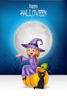 Kleine hexe der karikatur, die auf halloween-kürbis mit schwarzer katze sitzt