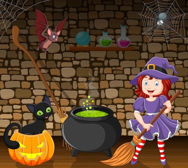 Kleine hexe der karikatur, die einen besenstiel im raum hält