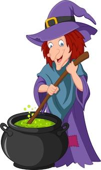 Kleine hexe der karikatur, die trank vorbereitet