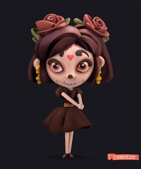 Kleine hexe. halloween-urlaub 3d-vektor-cartoon-symbol