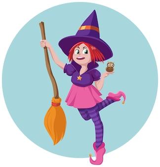 Kleine hexe mit ihrem besen und ihrer haustier-eule