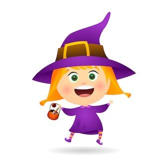 Kleine hexe mit schüssel süßigkeiten