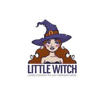 Kleine hexe, porträt der jungen attraktiven hexe für ihr halloween-etikett, logo, emblem