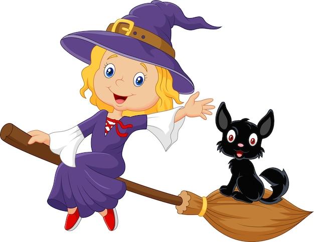 Kleine hexe und eine schwarze katze im fliegenbesenstiel