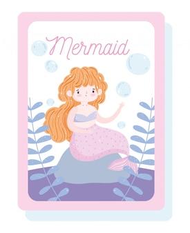Kleine hübsche meerjungfrau wasserblasen und seetang cartoon