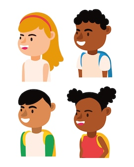 Kleine interracial studenten kinder avatare zeichen vektor-illustration design