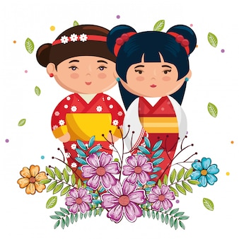 Kleine japanische paarmädchen kawaii mit blumencharakteren