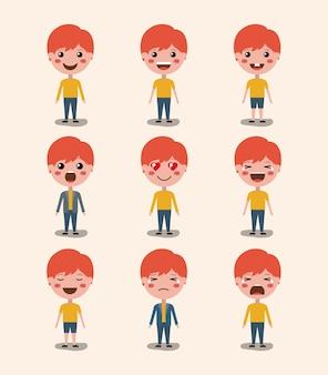 Kleine jungen emoticon set kawaii zeichen