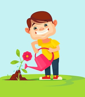 Kleine jungenfigur, die blumenpflanze wässert