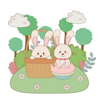 Kleine kaninchen mit ei im garten gemalt