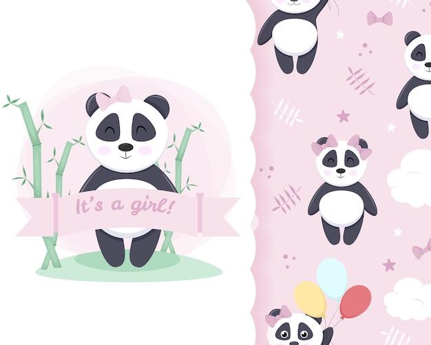 Kleine karte nahtloses muster panda mädchen