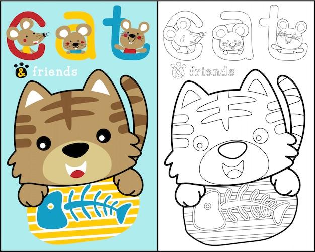 Kleine katze und freunde cartoon auf malbuch
