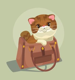 Kleine katzenfigur, die in der damenbeutelillustration sitzt
