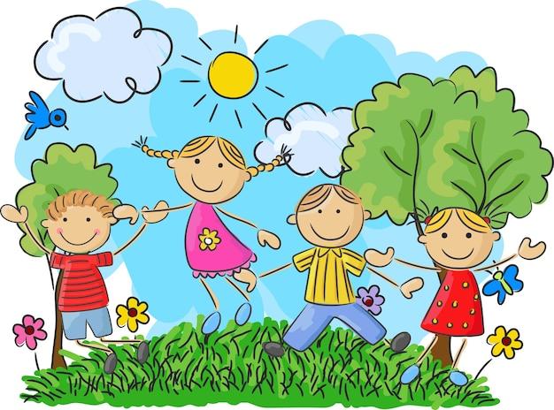 Kleine kinder der karikatur, die zusammen springen und tanzen