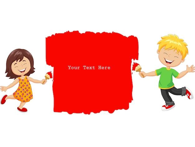 Kleine kinder der karikatur, welche die wand mit roter farbe malen