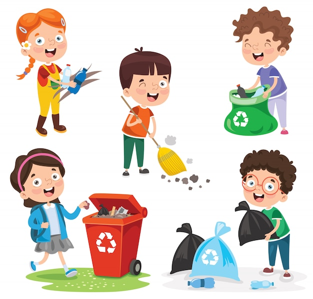 Kleine kinder, die abfall säubern und aufbereiten