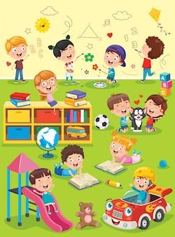 Kleine kinder, die am vorschulklassenzimmer studieren und spielen