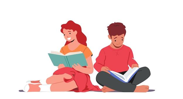 Kleine kinder, die bücher lesen, jungen- und mädchencharakter studieren
