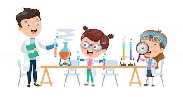Kleine kinder, die chemieunterricht studieren