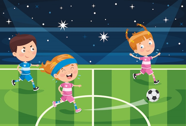Kleine kinder, die den fußball im freien spielen