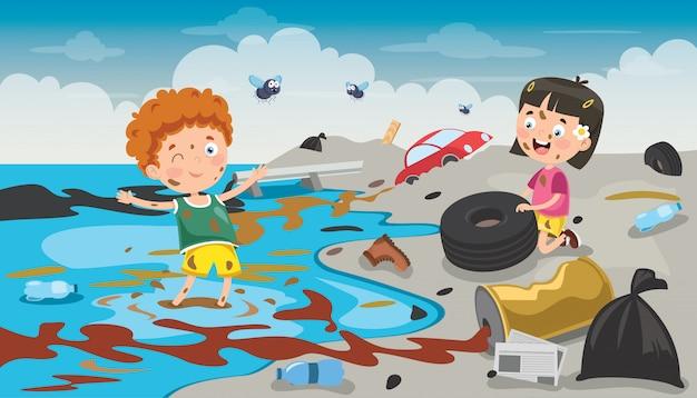 Kleine kinder, die den strand säubern