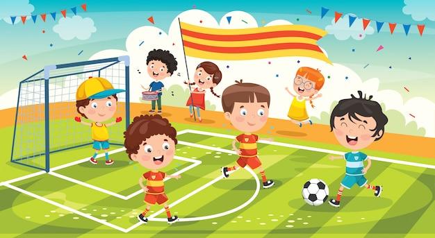Kleine kinder, die draußen fußball spielen