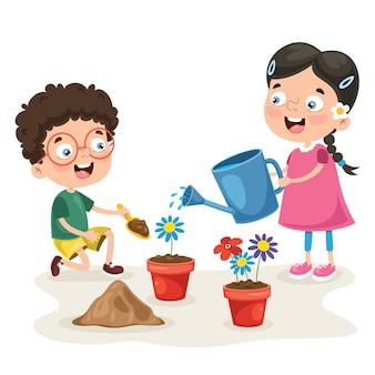 Kleine kinder, die im garten arbeiten und pflanzen