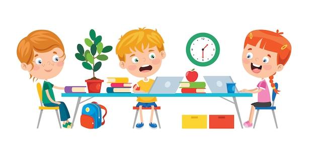 Kleine kinder, die im klassenzimmer studieren