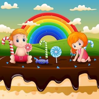 Kleine kinder, die in einer süßigkeitenlandillustration spielen
