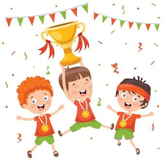 Kleine kinder, die meisterschaftsgewinn feiern