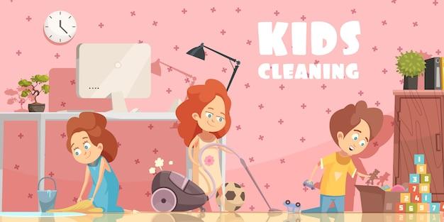 Kleine kinder, die retro- karikaturplakat des wohnzimmers mit den ordening spielwaren und dem staubsaugen des fußbodens säubern