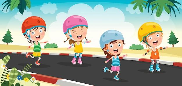 Kleine kinder, die rollschuhe reiten