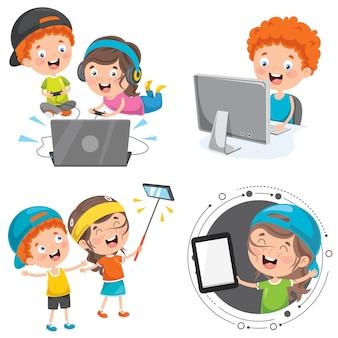 Kleine kinder, die technologie-geräte verwenden