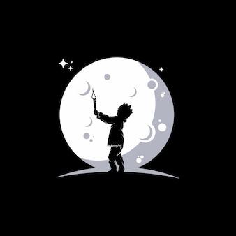Kleine kinder erreichen träume auf dem mond