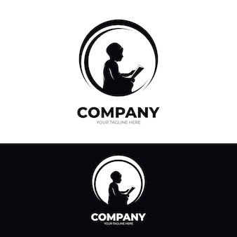 Kleine kinder lesen logo design inspiration