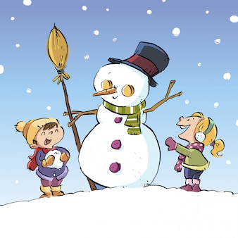 Kleine kinder machen einen schneemann