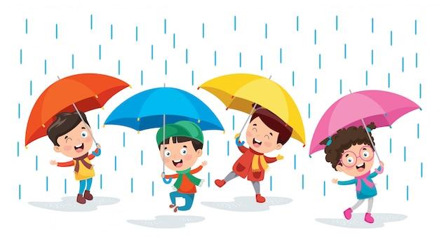Kleine kinder mit regenschirmen